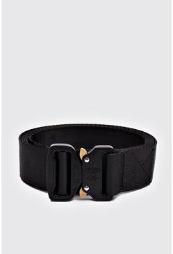Mens Black Metal Utility Buckle Belt