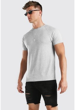 Grey marl Raglan Crew Neck T-Shirt