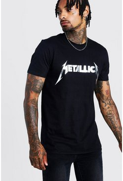 Mens Black Metallica Silver Foil Print License T-Shirt