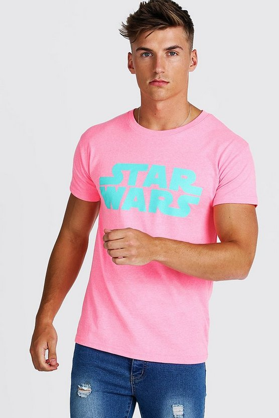 Mens Neon-pink Star Wars Fitted T-Shirt