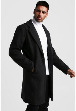 Black Wool Look Overcoat