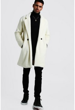 Off white Faux Fur Double Breasted Overcoat