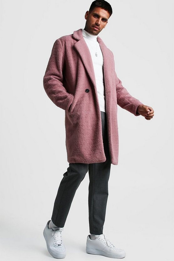 Dusky pink Faux Fur Double Breasted Overcoat