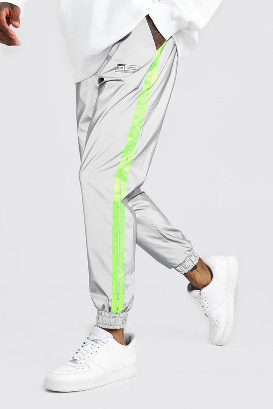 Mens Grey MAN Reflective Joggers With Neon Tape