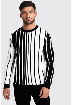 Mens White Long Sleeve Vertical Stripe Knitted Jumper