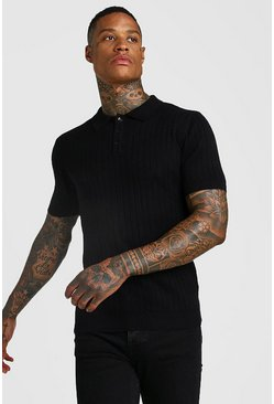 Black Ribbed Short Sleeve Knitted Polo
