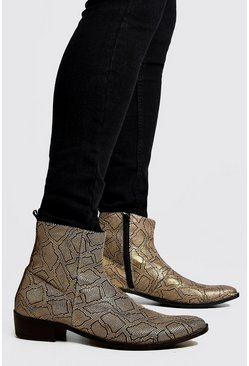Bottes Chelsea cubaines imitation serpent, Naturel