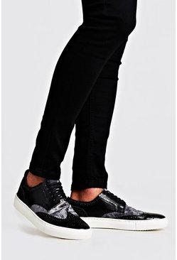 Metallic silver Casual Brogue Detail Sneakers