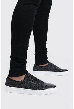 Metallic silver Metallic Lace Up Sneakers