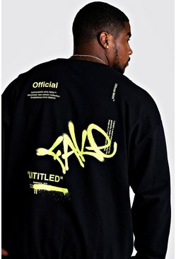 Mens Black Big & Tall Loose Fit Fake Graffiti Sweatshirt
