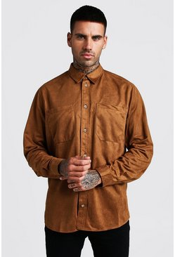 Mens Tan Oversized Suedette Long Sleeve Shirt
