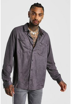 Mens Charcoal Oversized Suedette Long Sleeve Shirt
