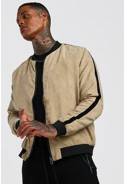 Sand Faux Suede Bomber With Side Stripe