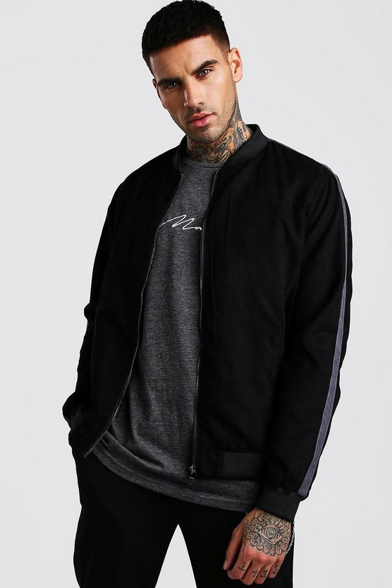Mens Black Faux Suede Bomber With Side Stripe