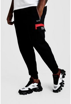 Black Big & Tall Man Dash Cargo Joggers