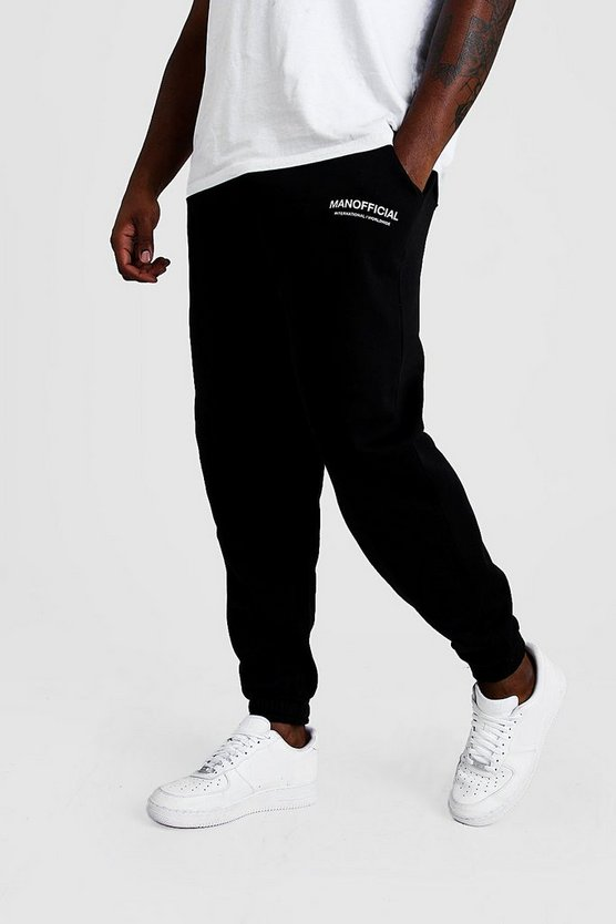 "Big & Tall Limited Edition Jogginghose mit ""MAN Official""-Print, Schwarz, HERREN"
