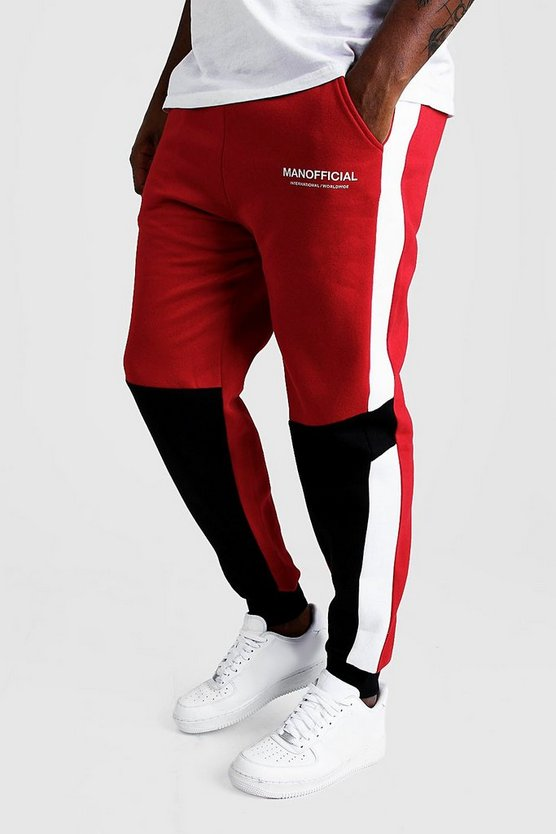 Red Big And Tall MAN Official Colour Block Joggers