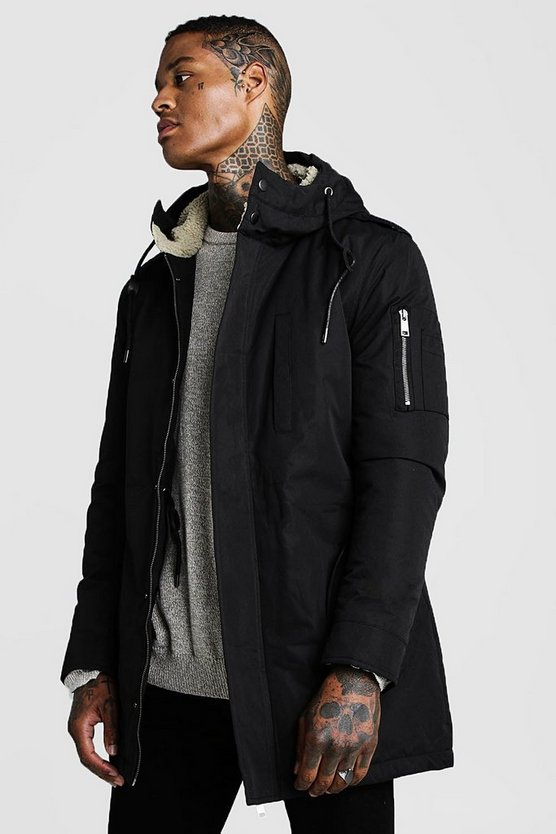 Mens Black Parka Coat With Borg Lined Hood