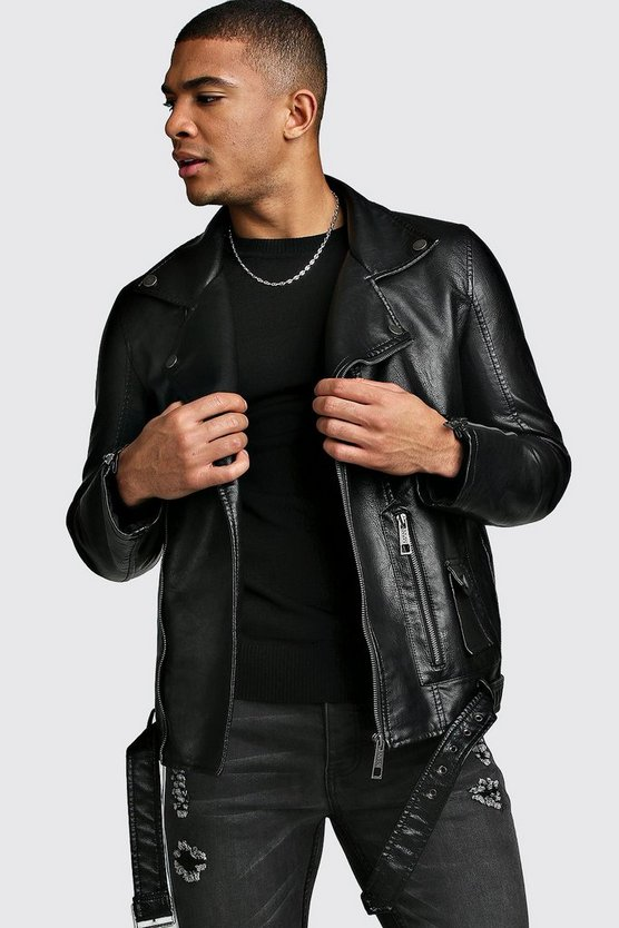 Mens Black Faux Leather Biker Jacket With Belt