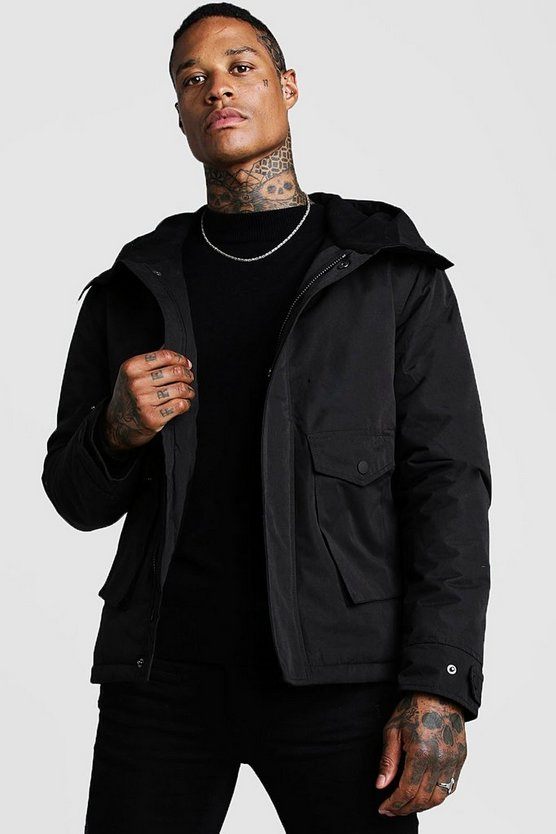 Black Fleece Lined Parka With Oversized Pockets
