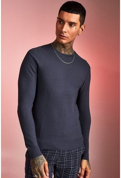 Mens Charcoal Fine Ribbed Knit Jumper