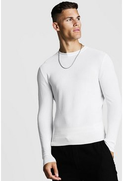 Mens Ivory Muscle Fit Ribbed Knitted Jumper