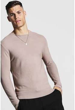Mens Taupe Fine Knit Ribbed Jumper