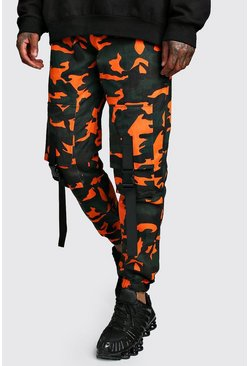 Mens Orange Camo Front Cargo Pocket Buckle Trouser