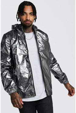 Mens Charcoal High Shine Hooded Zip Through Jacket