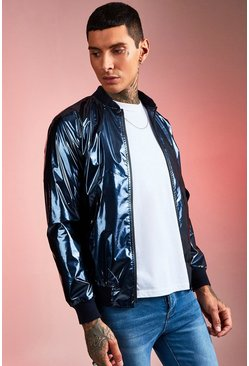 Mens Navy High Shine Bomber Jacket