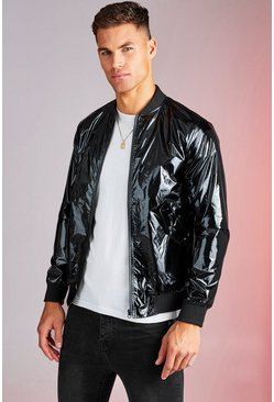 Mens Black High Shine Bomber Jacket