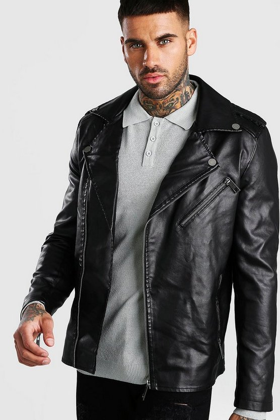 Mens Black Faux Leather Biker Jacket With Shoulder Detail
