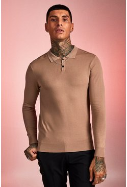 Mens Taupe Muscle Fit Fine Knit Polo With Long Sleeves