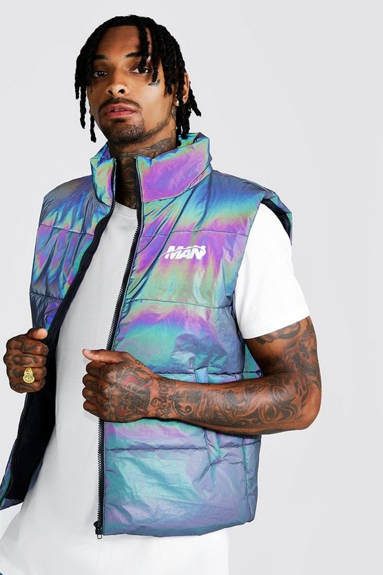 Mens Iridescent MAN Rainbow Reflective Sleeveless Puffer