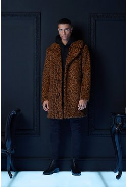 Mens Brown Premium Faux Fur Leopard Overcoat