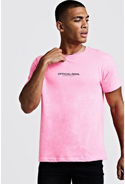 Mens Pink MAN Official Fitted T-Shirt In Washed Neon