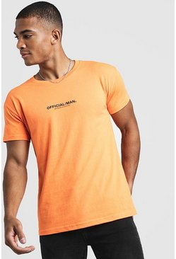 Mens Neon-orange MAN Official Fitted T-Shirt In Neon