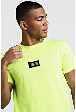 Mens Neon-yellow MAN International Worldwide Fitted T-Shirt