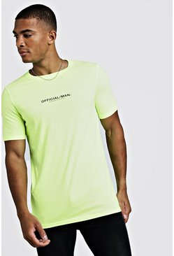 Mens Yellow MAN Official Fitted T-Shirt In Washed Neon