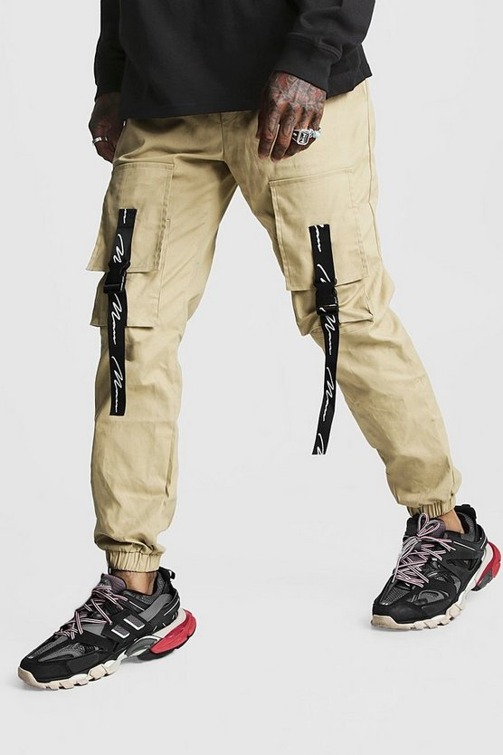 Mens Stone MAN Branded Strap Cargo Pocket Trouser