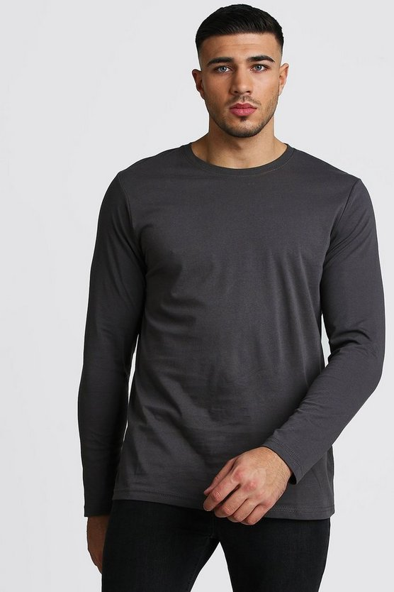Mens Charcoal Basic Long Sleeve Crew Neck T Shirt