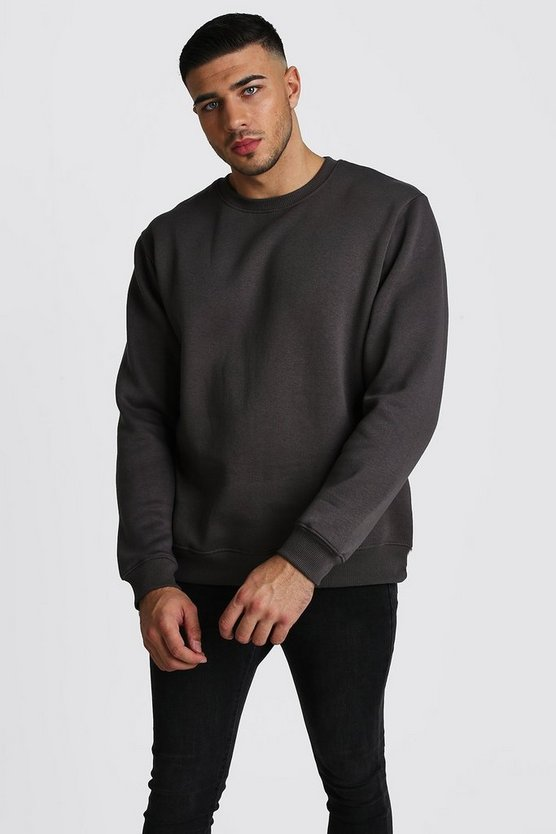 Mens Charcoal Crew Neck Sweatshirt