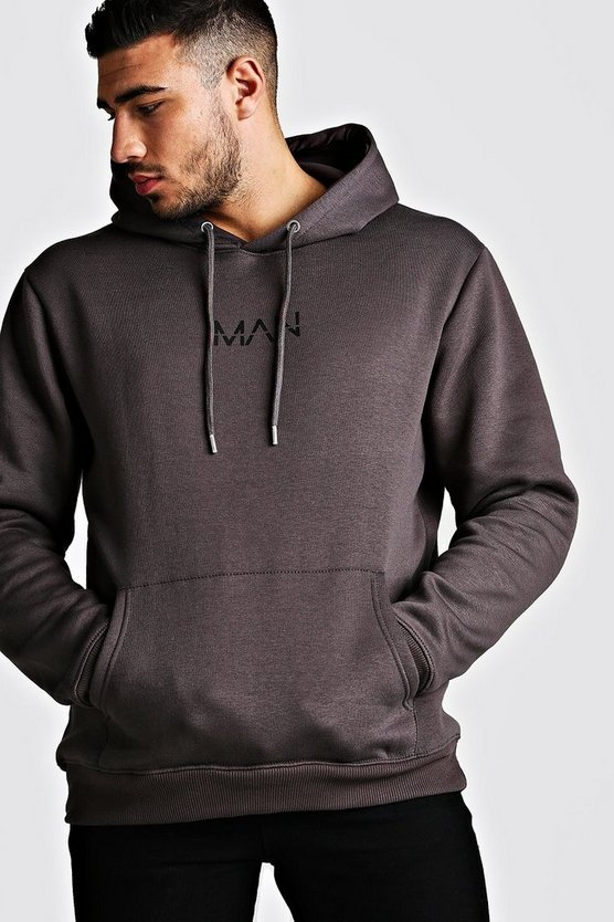 Mens Charcoal Original Man Print Over The Head Hoodie