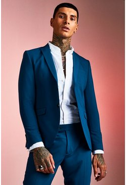 Teal Plain Skinny Fit Suit Jacket
