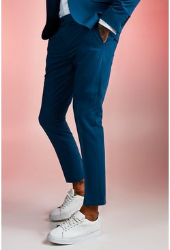 Mens Teal Plain Skinny Fit Suit Trouser
