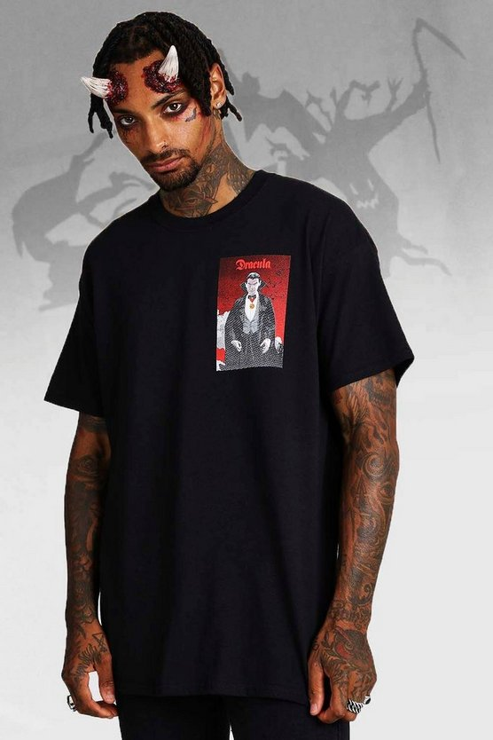 Mens Black Halloween Dracula License T-Shirt