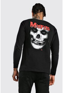 Mens Black Long Sleeve Misfits License Print T-Shirt