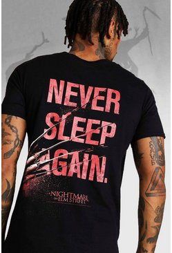 Mens Black Halloween Nightmare On Elm Street Back Print T-Shirt