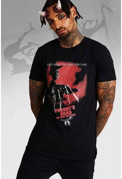 Mens Black Nightmare On Elm Street Freddie License T-Shirt