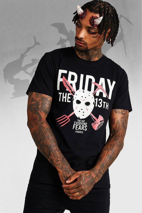 Mens Black Halloween Friday The 13th License T-Shirt